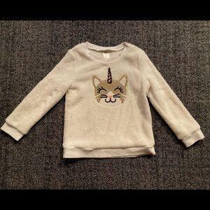 Oshkosh fleece pullover with cool sequin cat+ unicorn size 3T